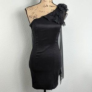 Jessica McClintock VNTG one shoulder drape dress
